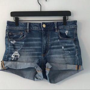 AEO ripped dark wash super stretch shorts